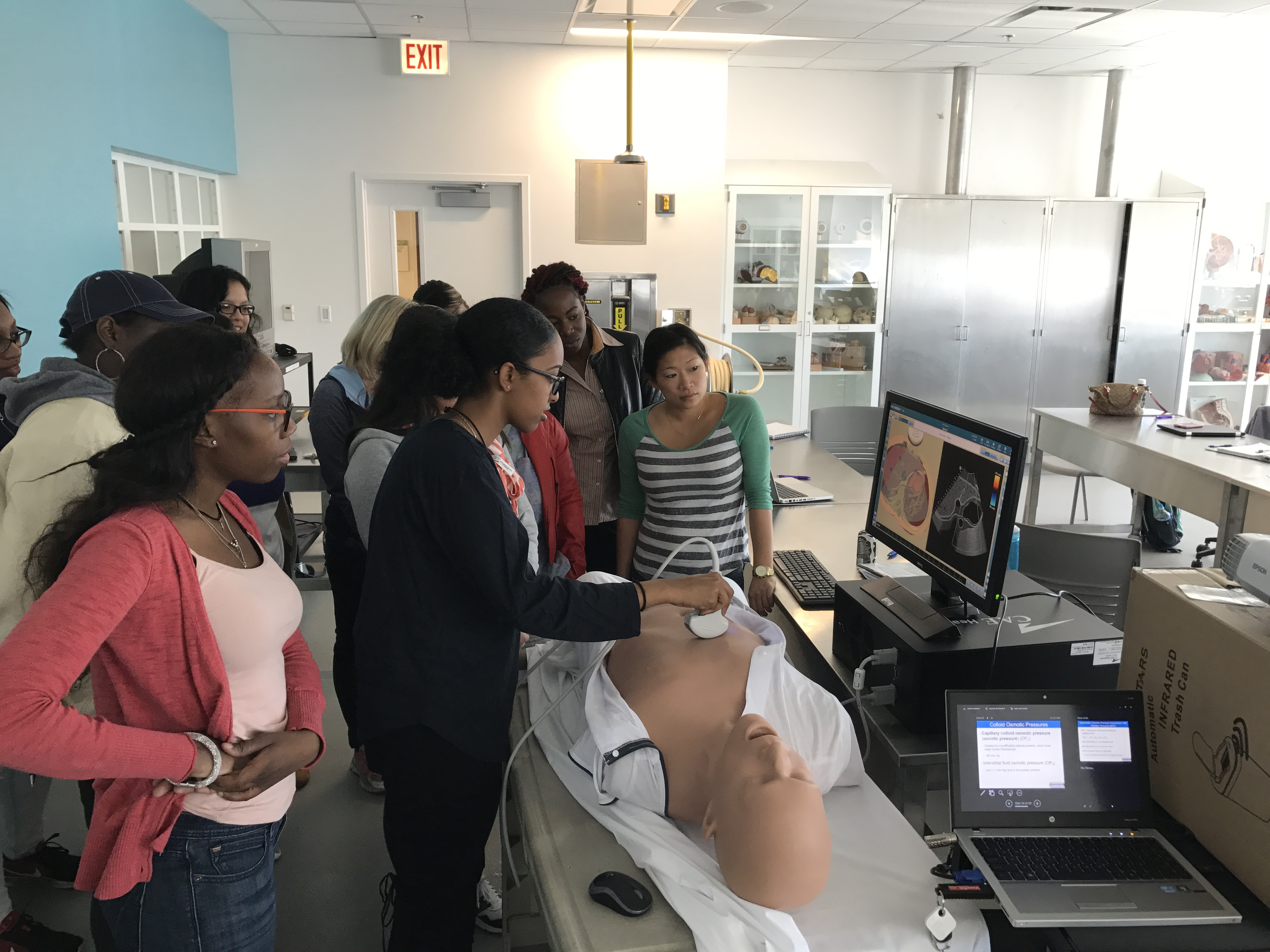 Bio 227 students use a virtual patient in lab