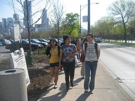 group of students who are in the TBLC program walking together