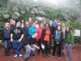 Biology students performing service learning at Garfield Park Conservatory.