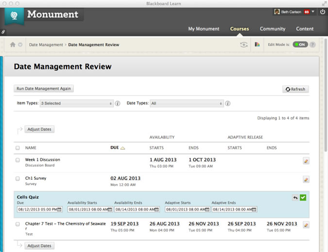 screenshot of date management page