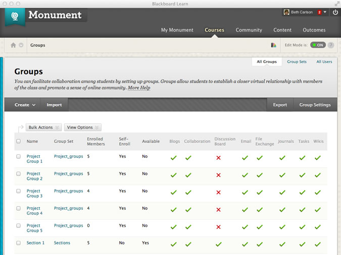 screenshot of group management page